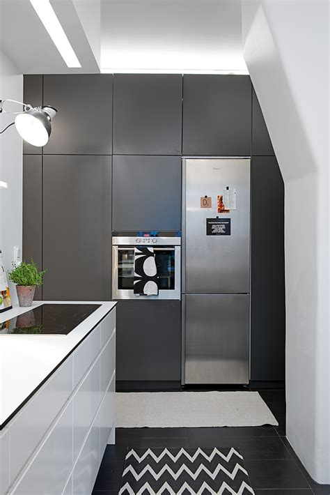 built in kitchen appliances swedish apartment boasts exciting mix of old and new