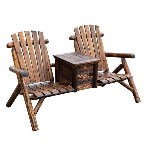Outsunny Wooden Outdoor Two Seat Adirondack Patio Chair W Wooden Patio Chair