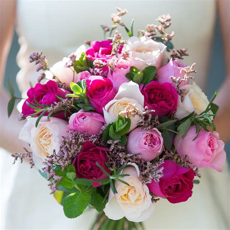 Wedding Pink Flowers by David Mixed Pink Bridal Bouquet