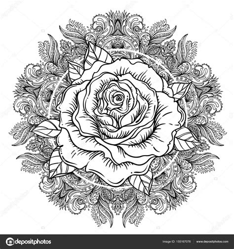 rose flower over mandala tattoo flash highly detailed