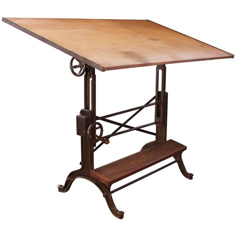 Drafting Table Furniture Drafting Table Vintage Industrial Cast Iron And Wood Frederick Post Adjustable At 1stdibs