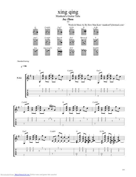jay chou chord starry mood guitar pro tab by jay chou musicnoteslib