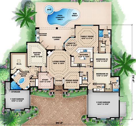 mediterranean style floor plans mediterranean style house plan 3 beds 3 5 baths 3242 sq