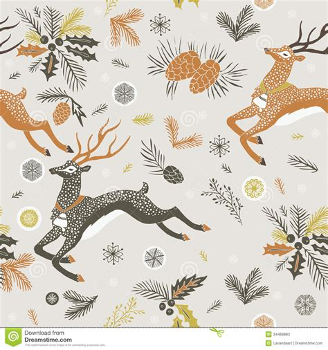 reindeer printable wrapping paper leaping reindeer christmas design stock illustration