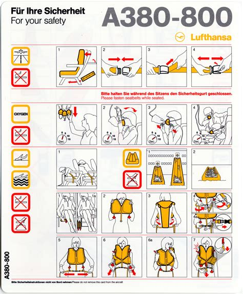 Collection Of Airline Safety Cards by Safety Information Card Lufthansa German Airlines Airbus