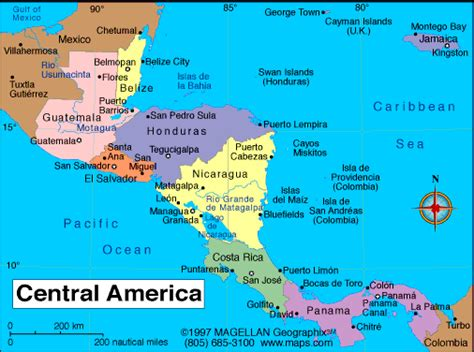 central map central america atlas