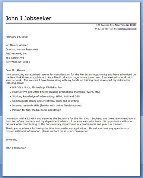 film internship cover letter exles resume downloads