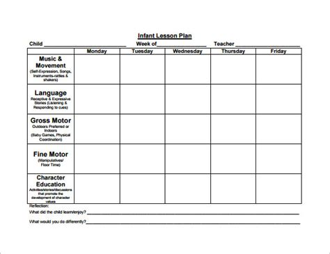 kindergarten lesson plan template the creative apple