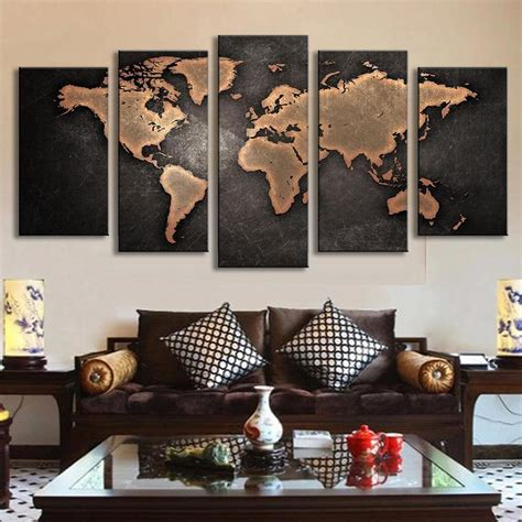large sculptures home decor free shipping 5 panel large hd printed oil painting world