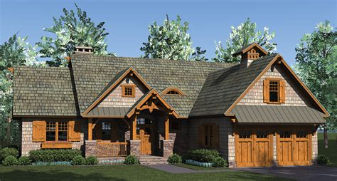 home plan rustic craftsman is open with lots of storage