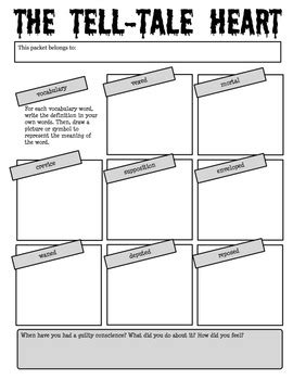 Tell Tale Worksheet by Quot The Tell Tale Quot By Edgar Allan Poe Reading Activity Packet Edgar Allan Poe Edgar Allan