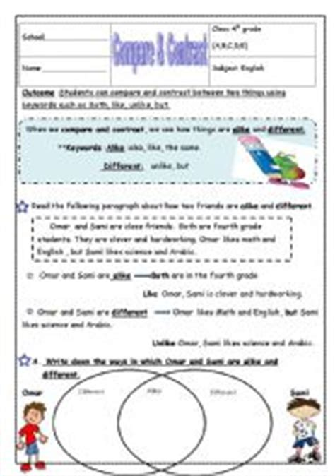 Compare And Contrast Reading Worksheets 5th Grade by Worksheet Compare And Contrast Reading Worksheets