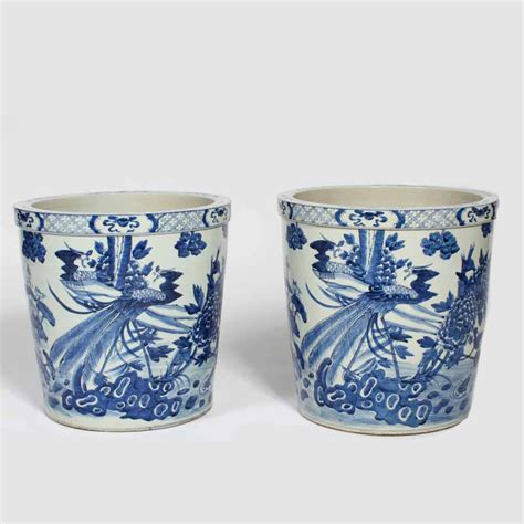 10 diameter ceramic pot blue and white pair of export large blue and white flower pots