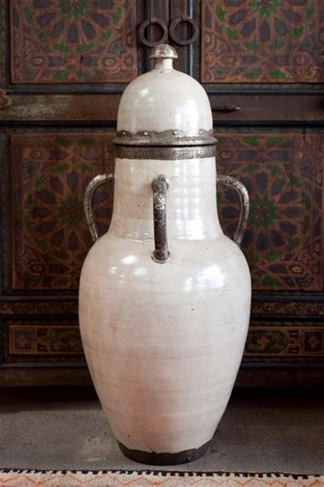 Large Vases And Urns by Large Olive Ceramic Urns With Lid From Morocco At 1stdibs
