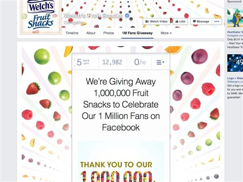 Fruit Giveaway - welch s 174 fruit snacks 1 million fruit snacks giveaway