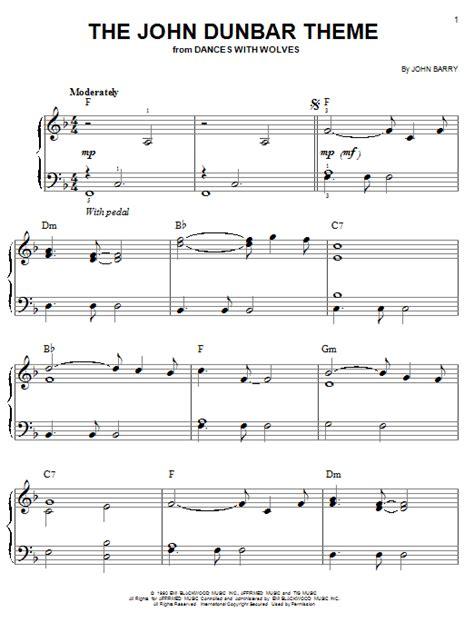 theme music piano the john dunbar theme sheet music by john barry easy