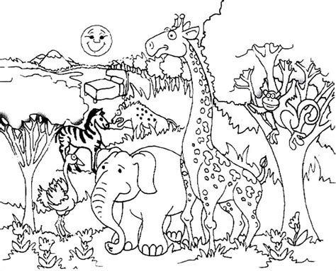 giraffe habitat coloring pages giraffe and forest animals coloring 171 preschool and homeschool