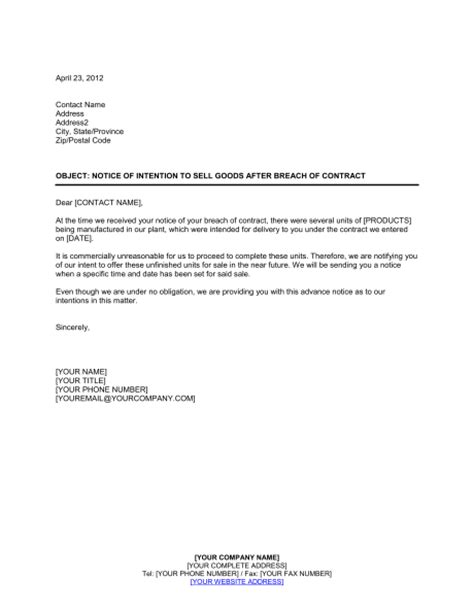 Breach Of Contract Letter Sle Notice Of Intention To Sell Goods After Breach Template Sle Form Biztree