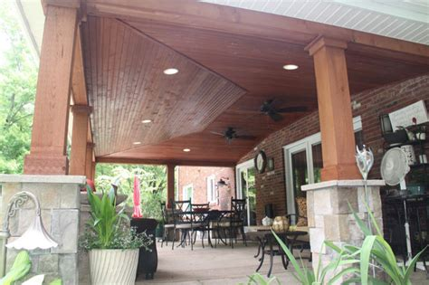 roof built over existing patio rustic patio cleveland by jm design build