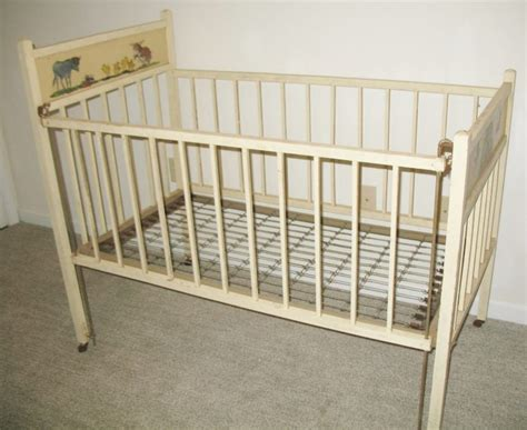 Furniture White Stained Wooden Vintage Baby Nursery As Vintage Cribs For Babies