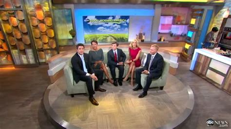 Larra Overall Set musical chairs at morning america newscaststudio