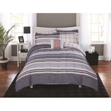 queen mainstays urban stripe bed in a bag coordinated bedding set mainstays variegated stripe bed in a bag coordinating bedding set walmart