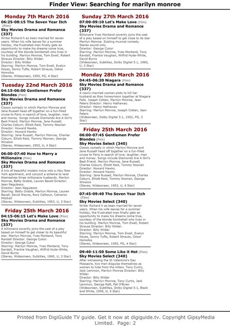 printable tv schedule uk television uk europe march schedule immortal marilyn