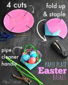 How To Make A Basket Out Of Paper - paper plate easter basket hip2save