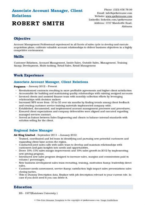 Associate Account Manager Sle Resume by Account Manager Resume Sles Qwikresume