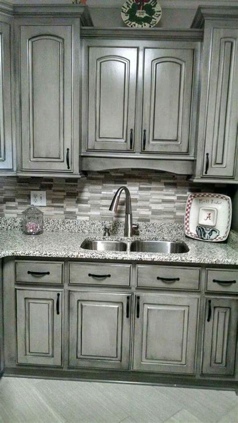 gray cabinets with black countertops valspar aspen grey and black glaze painting cabinets
