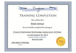 Training certificate riyaz ccna