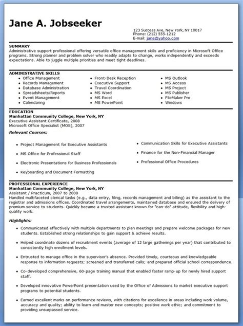 resume template for administrative position sle resume administrative assistant resume downloads