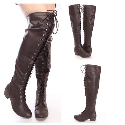 30 breckelles shoes hp brown thigh high lace up