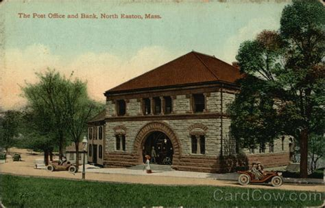 the post office and bank easton ma postcard