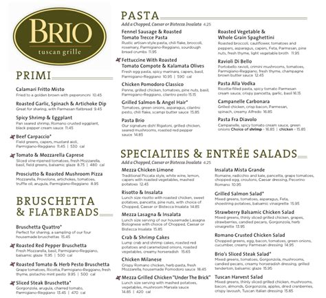 brio italian menu menu for brio tuscan grille 499 s university dr