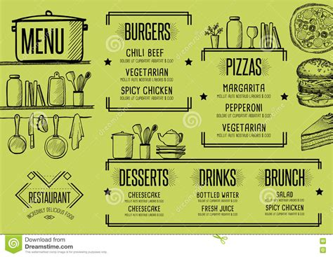Menu Restaurant Food Template Placemat Stock Vector Illustration Of Card Cafe 81470540 Placemat Menu Templates