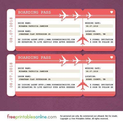 printable boarding pass save  date template