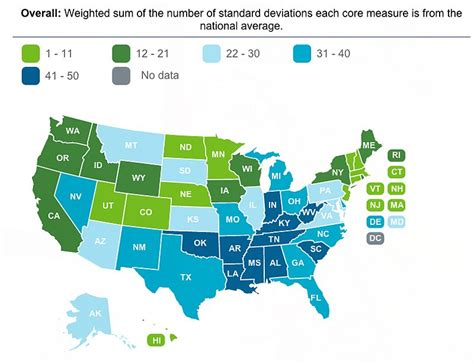 Healthiest States In America | the most and least healthy states in america map sfgate