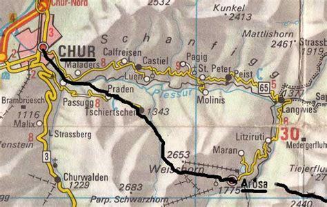 chur map the cross swiss walk arosa to chur