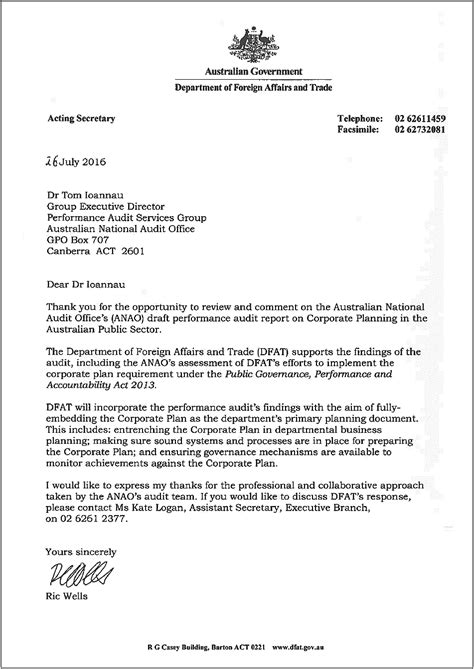 Auditor Resignation Letter by Corporate Planning In The Australian Sector