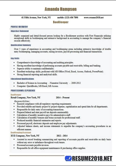 latest resume 2018 templates for bookkeeper 6 sles in
