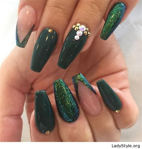 Nails And More by Amazing Green Nails With Glitter And More Ladystyle