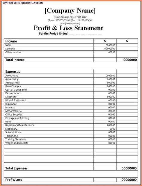 profit and loss template for self employed 11 profit and loss statement for self employed