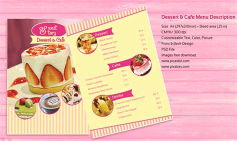 dessert menu templates free psd templates dessert and cafe menu template