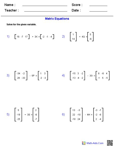 Adding And Subtracting Matrices Worksheet by Algebra 2 Worksheets Matrices Worksheets