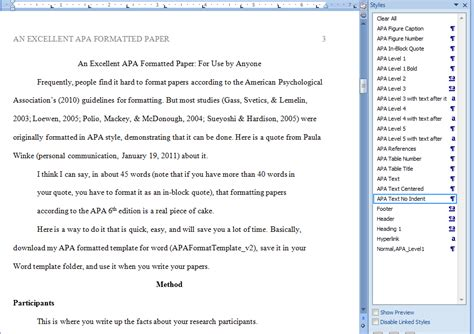 Formatting Apa Papers Betsy S Eclection Microsoft Word Apa Template