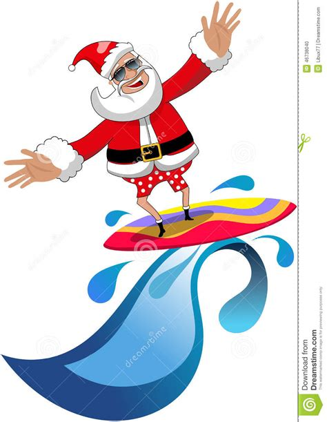 santa on surfboard santa claus surfing tropical sea isolated stock illustration image 46738040