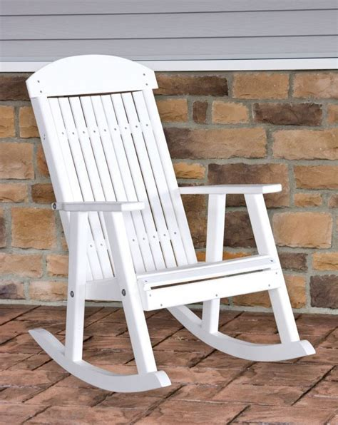 poly furniture wood porch rocker white outdoor porch