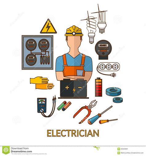 professional electrician with electricity tools silhouette stock vector image 65600891