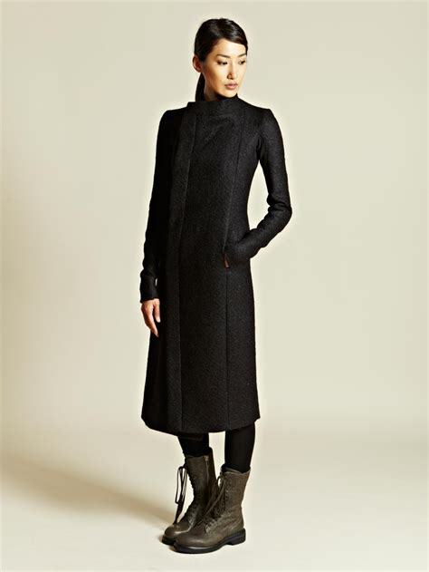 Rik Black rick owens rick owens womens eileen coat in black lyst